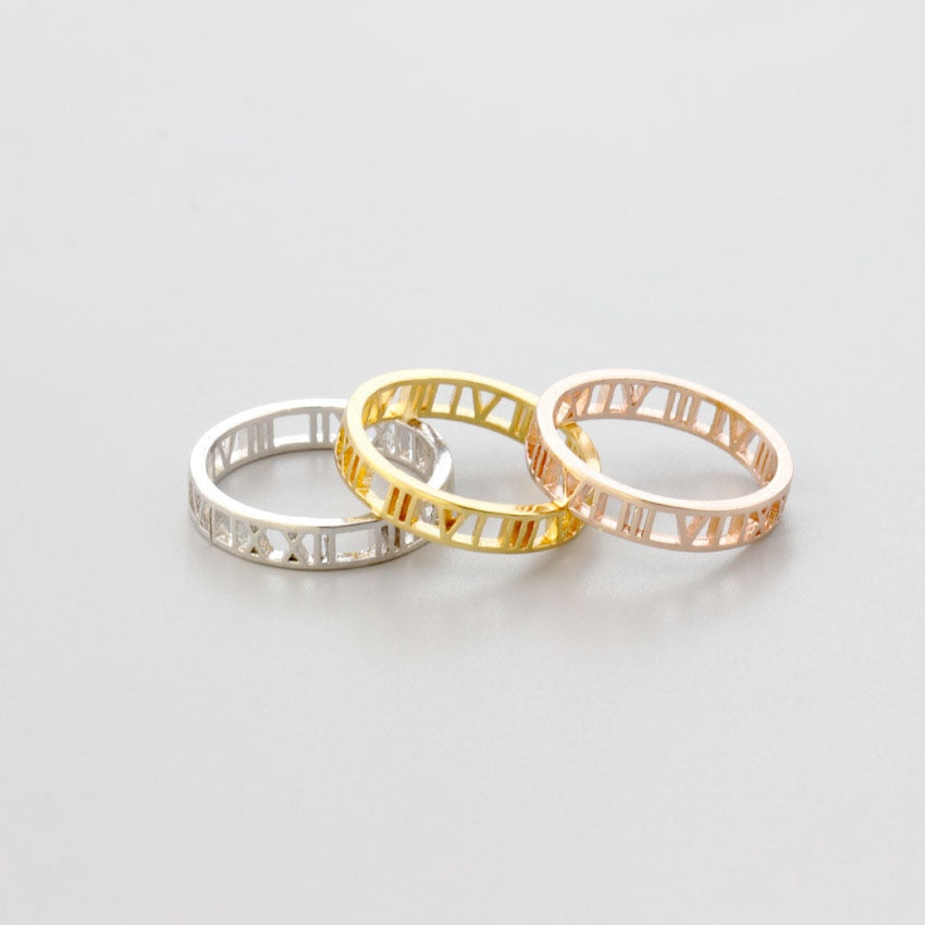 Personalized Roman Numeral Number Ring
