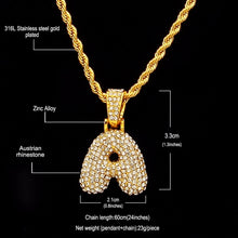 Rhinestone Bubble Initial Pendant Necklace