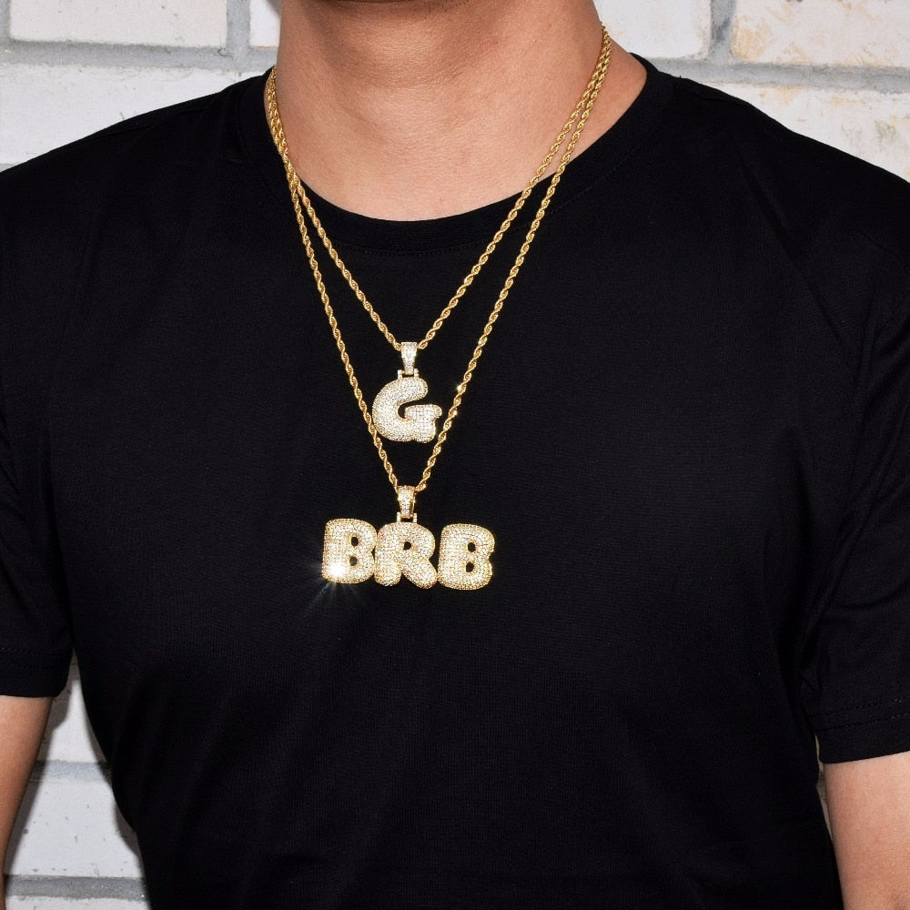 Custom Bubble Letters Necklace-  Men's Hip Hop Jewelry