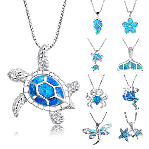 Blue Opal Sea Turtle Necklace