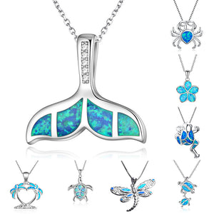Blue Opal Sea Turtle Ocean Adjustable Pendant Necklace