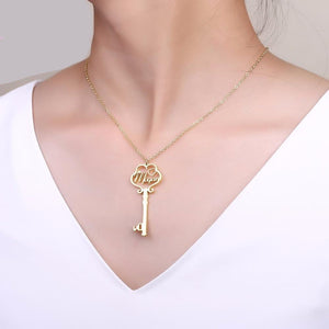 Personalized Nomen tuum et Key Diamond Pendant Necklace