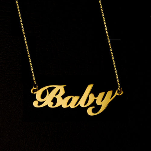Custom 18K Gold Plated Name Necklace with Box Chain