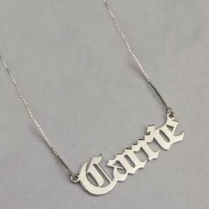 18K Gold Plated Customized Name Necklace- Gothic Old English
