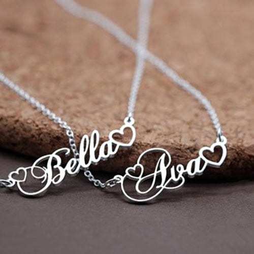 Personalized Name Necklace With Tiny Heart-18K Gold Plated