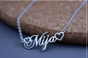 18k Gold Plated Name Necklace With Tiny Heart