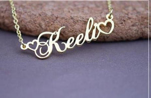 Name Necklace Rose Gold, Silver, Gold Color With Tiny Heart