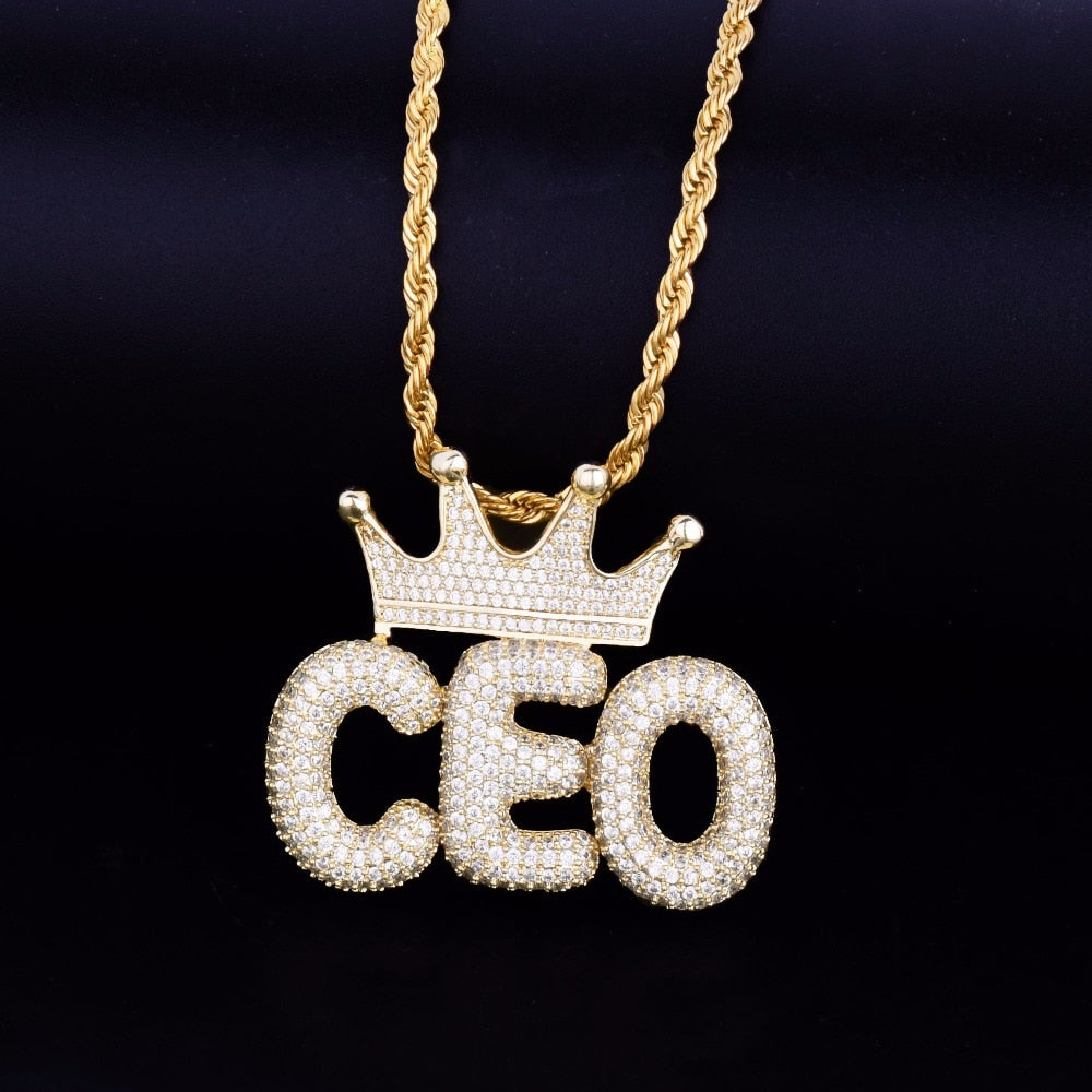Mens Hip Hop Custom Name Necklace with Crown