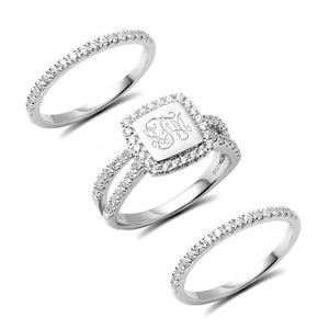 Custom Engraved Stacking Monogram Ring With Cubic Zirconia