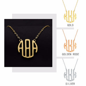 Personalized Block Monogram Name Necklace
