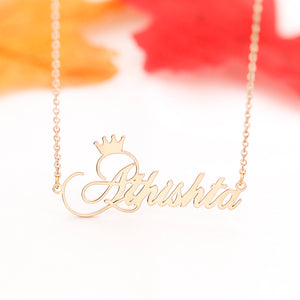 Personalized Name Necklace Cursive Font with Crown