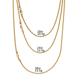 Hip Hop Necklace- 2.5mm Stainless Steel Rope Chain
