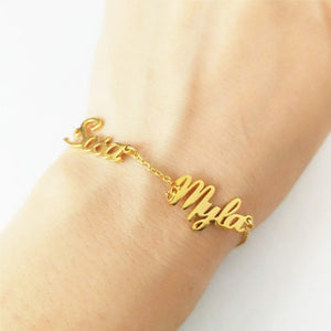 Personalized Three Name Bracelet 18K Gold Plated