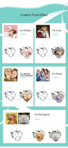Personlig 925 Sterling Silver Heart Photo Charms