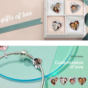 Custom Photo Heart Charms, Fit Pandora Bracelet