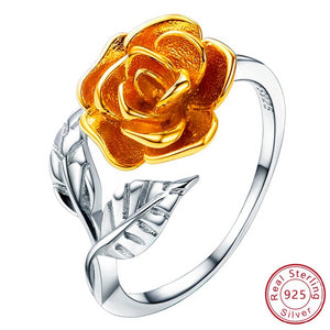 Rose Flower Ring warna emas