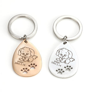 Personalized Photo Engrave Dog Tag Keychains