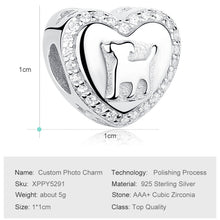 Personalized Photo Silver Crystal Heart Dog Charms