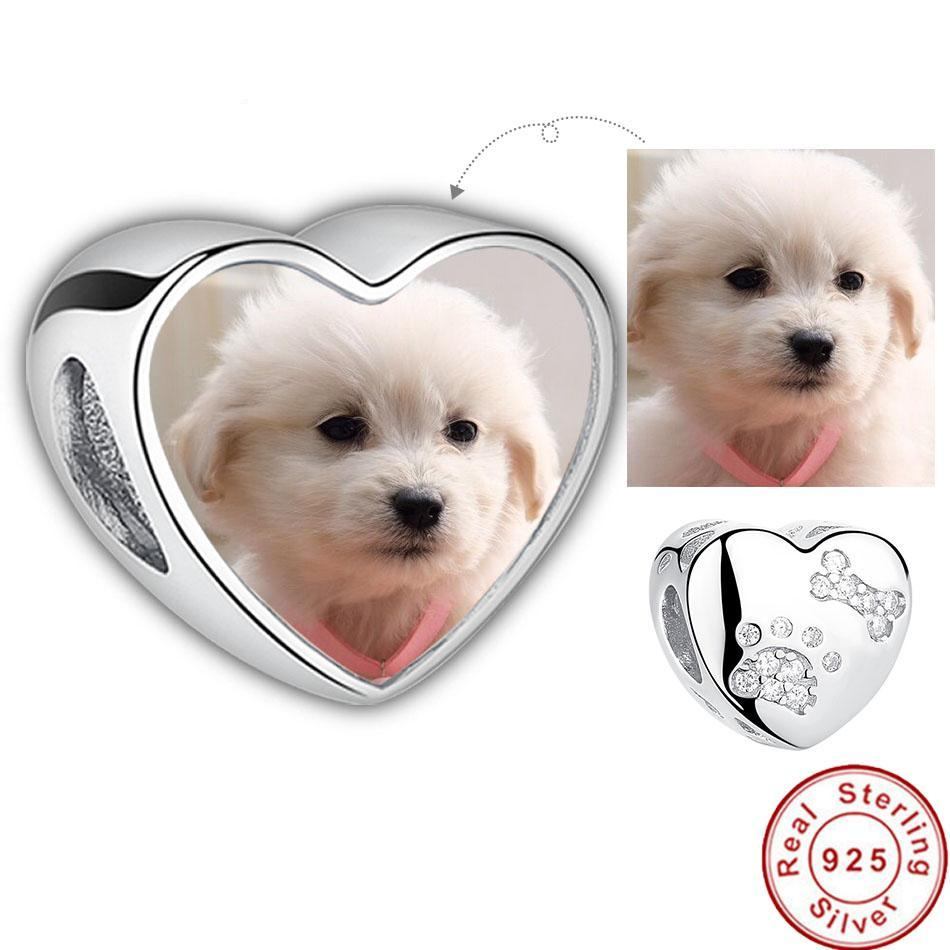 Vlastní Pet Photo Charms s Pet Paw Print