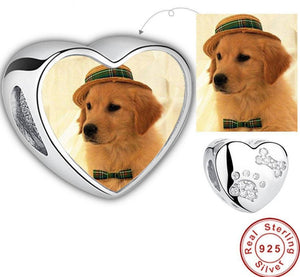 Custom Pet Photo Charms with Pet Paw Print
