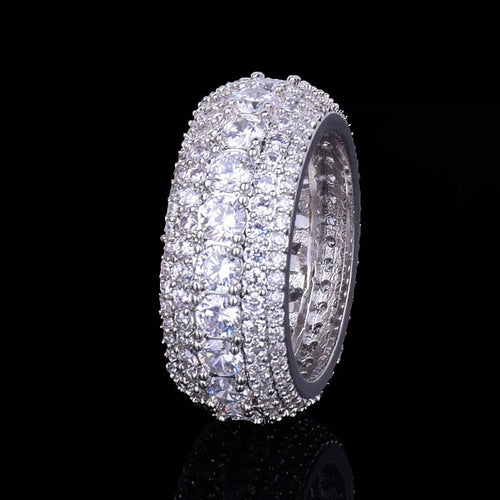 Hip Hop Ring- 5 Row CZ Men's Ring