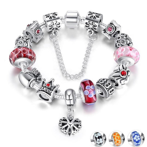 Silver Charms Bracelet With Queen Crown Beads for Women
