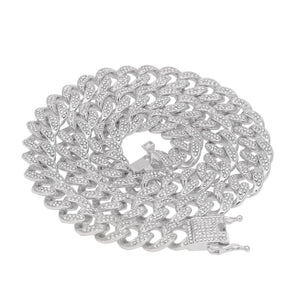 13mm Iced Out Cuban Link Chain Necklace And Bracelet