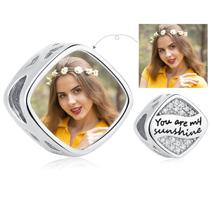 Custom Photo Square Charm Crystal Beads