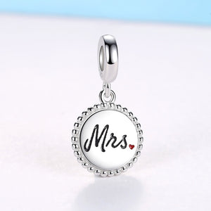 Custom Photo Charm- Sterling Silver Mrs Round Beads