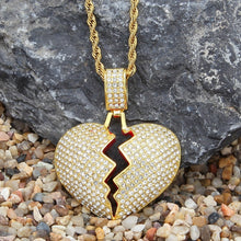 Broken Heart Hip hop Pendant Necklace