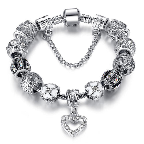 Silver Heart Charms Bangle Bracelet for Women