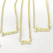 18K Gold Plated Custom Old English Name Necklace