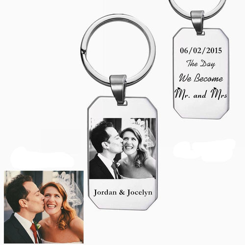 Personalised Photo Engraved Keyring- Wedding day-Anniversary Date-Save the date