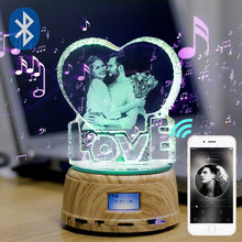 Custom Crystal Photo and Text LED Display Night Light-  Rotating MP4 Music Player Stand
