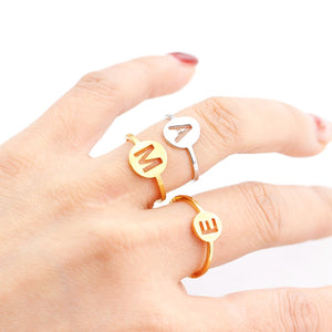 Personalized 18K Gold Plated Initial Rings, Stainless Steel Adjustable Ring