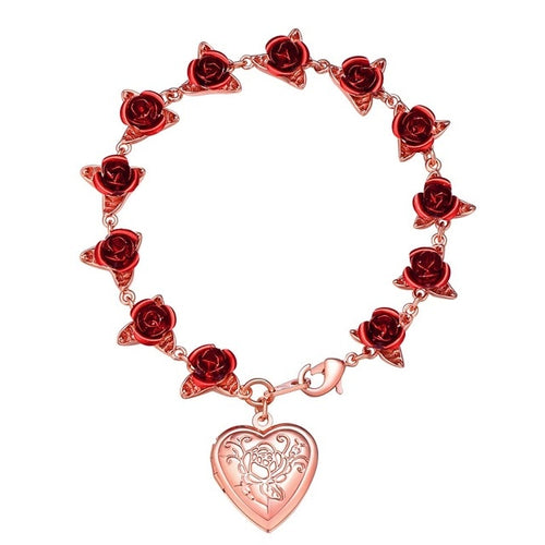 Rose Flower Heart Locket Charm Gelang