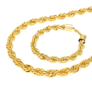 Hip Hop Jewelry Sets- 10mm Rope Chain Long Necklace