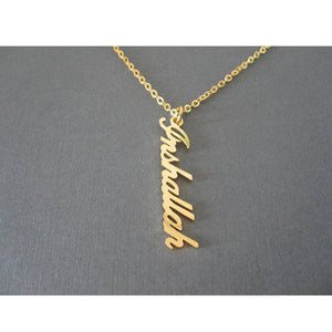 Custom Vertical Name Necklace 18K Gold Plated