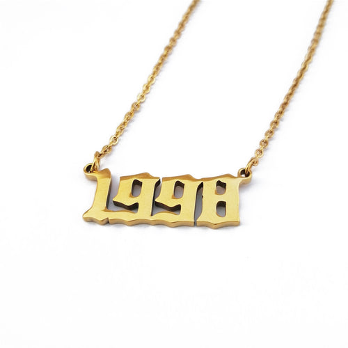 Number Necklace, Birthday Gift 1998 Year Necklace