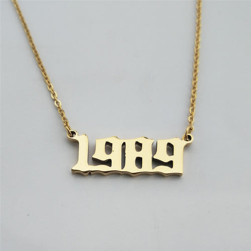 Customized Birth Date Year 1989 Number Necklace