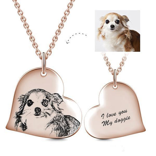 Heart Pendant Custom Pet Photo Necklace- Personalized Heart With Photo And Text