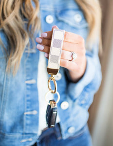 Designer Inspired Check Keyfob