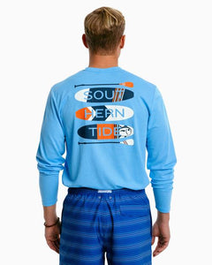 Southern Tide Men's Heather Paddleboard Stack Performance Long Sleeve Tee