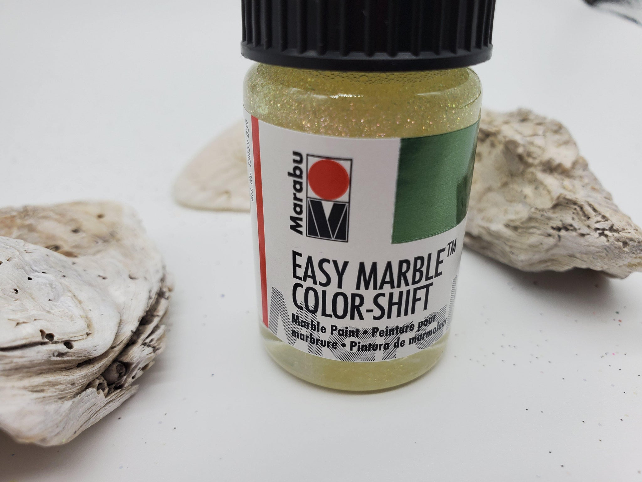 Glitter green red gold easy marbling paint