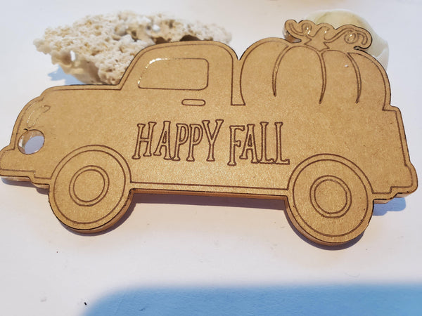 Old Vintage Fall Truck with Pumpkin Acrylic Blank