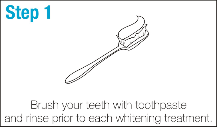 SmileBrightWhite-Step1-Brush-your-teeth-with-toothpaste-and-rise-prior-to-each-whitening-treatment