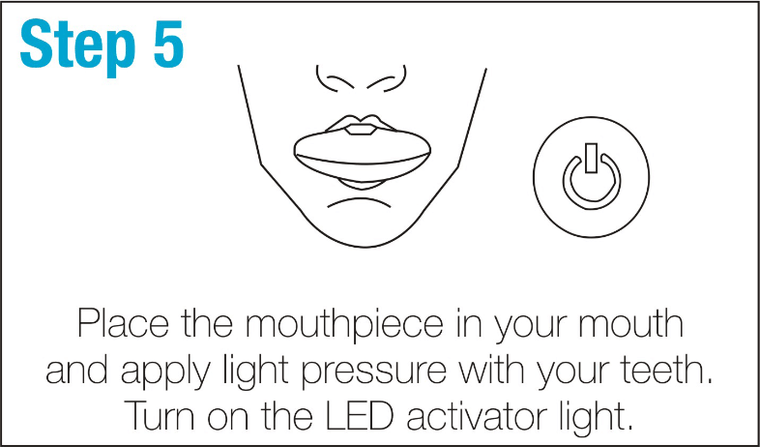 SmileBrightWhite-Step5-Place-the-mouthpiece-in-your-mouth-and-apply-light-pressure-with-your-teeth.-Turn-on-the-LED-activator-light.