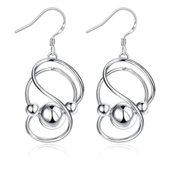 Inception Drop Earring in White Gold Plated