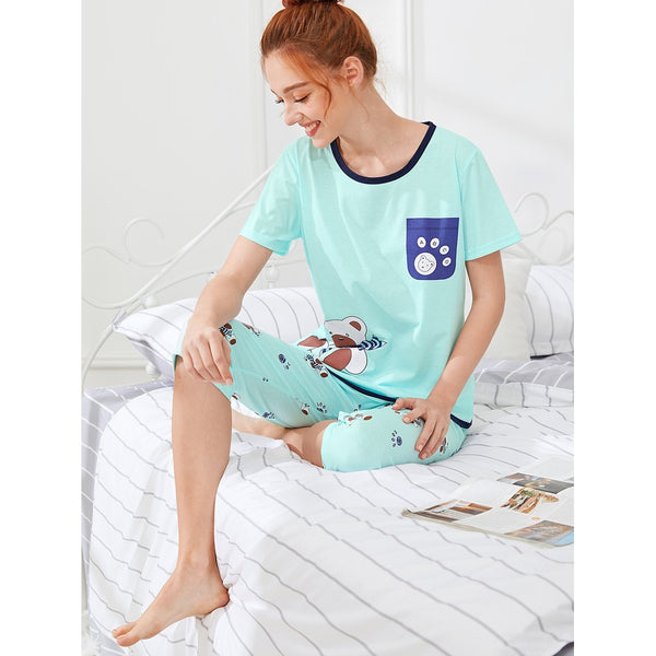 Bear Print Tee & Pants PJ Set