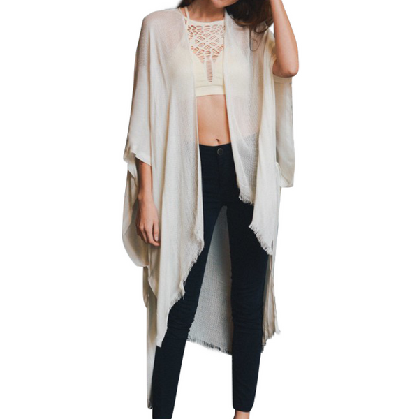 Ivory Open Grid Frayed Trim Kimono with Armholes